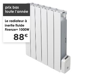 prix bas toute l'année Le radiateur à inertie fluide Firenze+ 1000W 88€