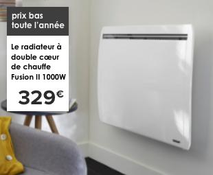 prix bas toute l'année Le radiateur à double coeur de chauffe Fusion II 1000W 329€