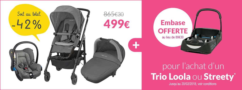 Embase offerte pour l'achat d'un Trio loola ou streety ! Ex : Trio Loola 3 de Bébé Confort + Embase offerte à 499€ au lieu de 865€30 soit au total -42% ! Jusqu'au 20/02/2018