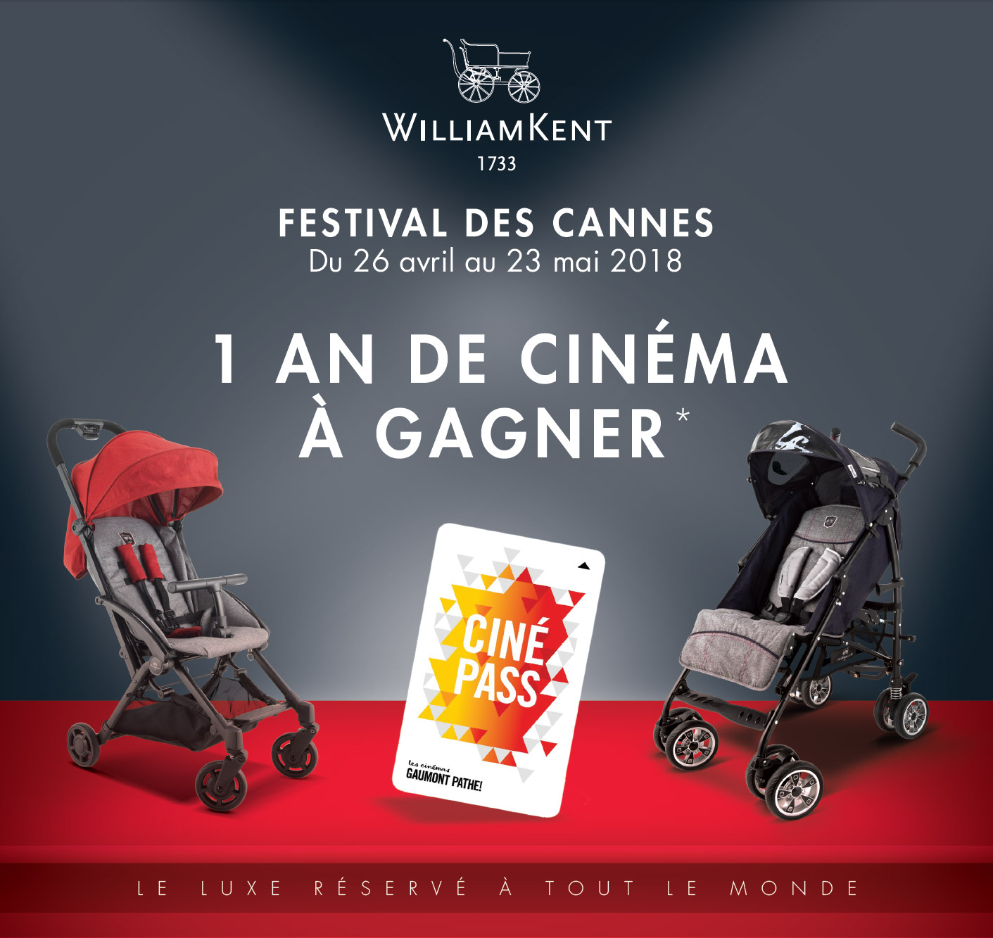 Festival des cannes William Kent 1733 : 1 an de cinéma à gagner ! Jusqu'au 23/05/2018, voir conditions