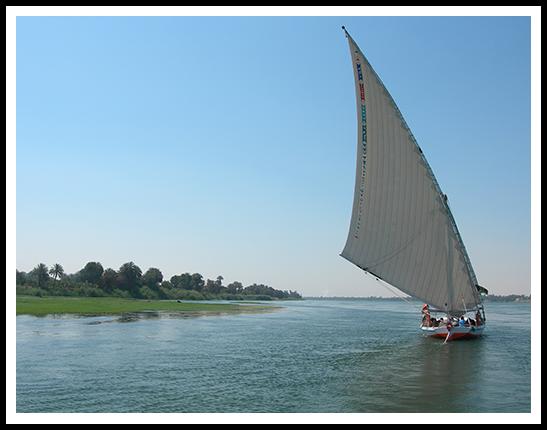 Le faible tirant d'eau permet à la felouque de flâner le long des rives du Nil