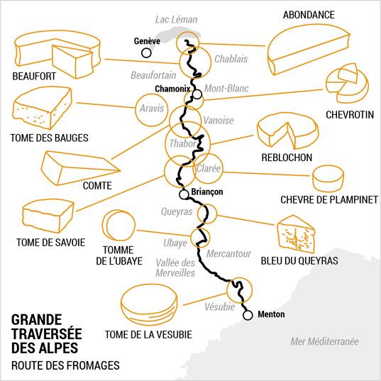Carte des fromages de la Grande Traversée des Alpes © Kristof Chemineau