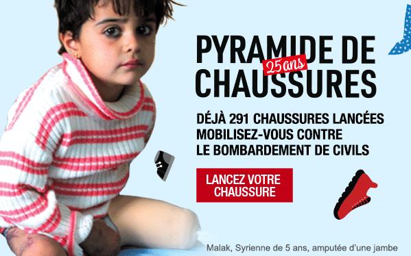 Pyramide de chaussure 25 ans - Déjà 291 chaussures lancées Mobilisez-vous contre le bombardement de civils