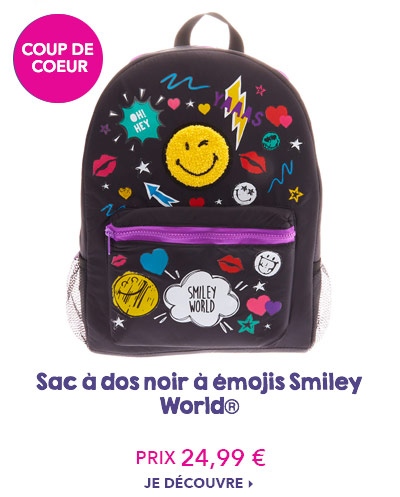 Sac à dos noir à émojis Smiley World®
