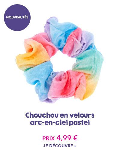 Chouchou en velours arc-en-ciel pastel
