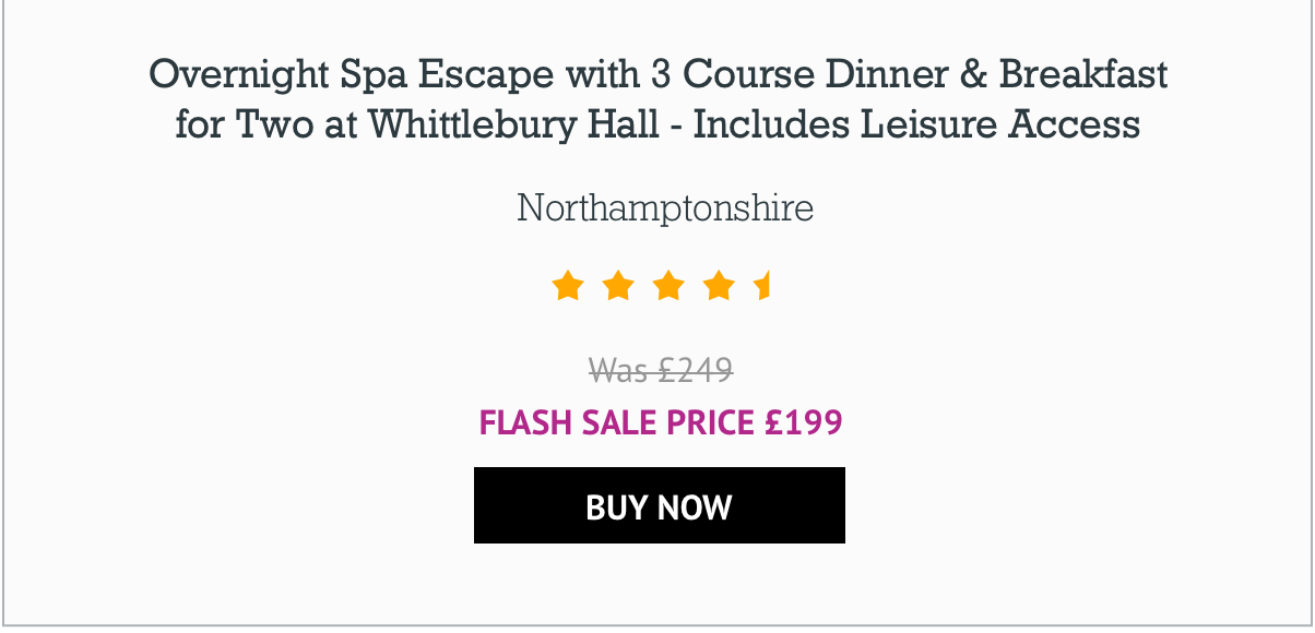 Overnight Spa Escape with 3 Course Dinner & Breakfast for Two at Whittlebury Hall - Includes Leisure Access - £199