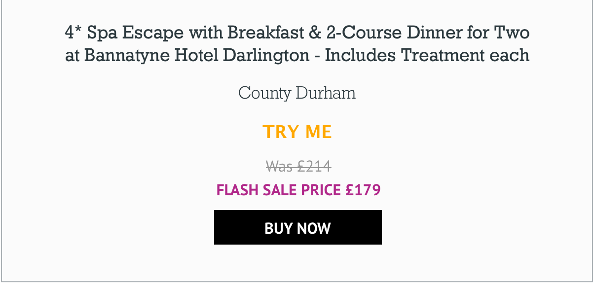 4* Spa Escape with Breakfast & 2-Course Dinner for Two at Bannatyne Hotel Darlington - Includes Treatment each - £179