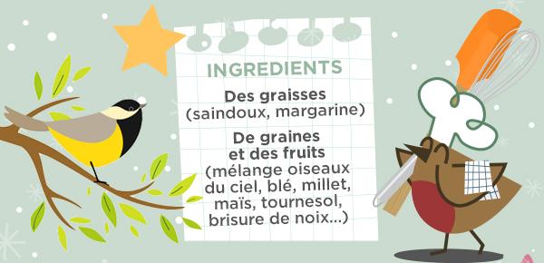 INGREDIENTS Des graisses (saindoux, margarine) De graines et des fruits (mélange oiseaux du ciel, blé, millet, maïs, tournesol, brisure de noix…)