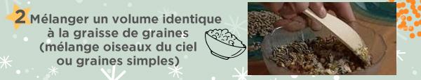 2 Mélanger un volume identique à la graisse de graines (mélange oiseaux du ciel ou graines simples)