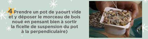 4 Prendre un pot de yaourt vide et y déposer le morceau de bois noué en pensant bien à sortir la ficelle de suspension du pot à la perpendiculaire)
